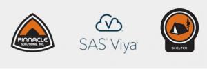Pinnacle Solutions, SAS Viya, and Pinnacle Shelter logo banner